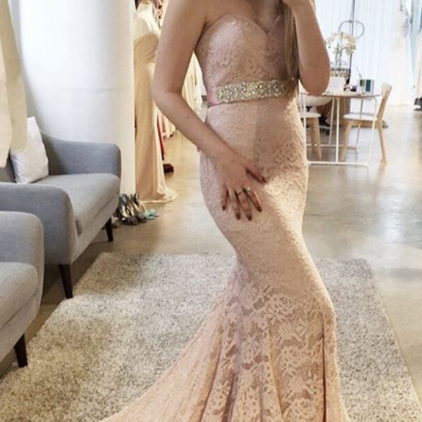 Charming Lace Prom Dress, Lace Evening Dress, Sweetheart Prom Dress, Mermaid Prom Gowns, Lace Formal Dress, Blush Pink Prom Dress