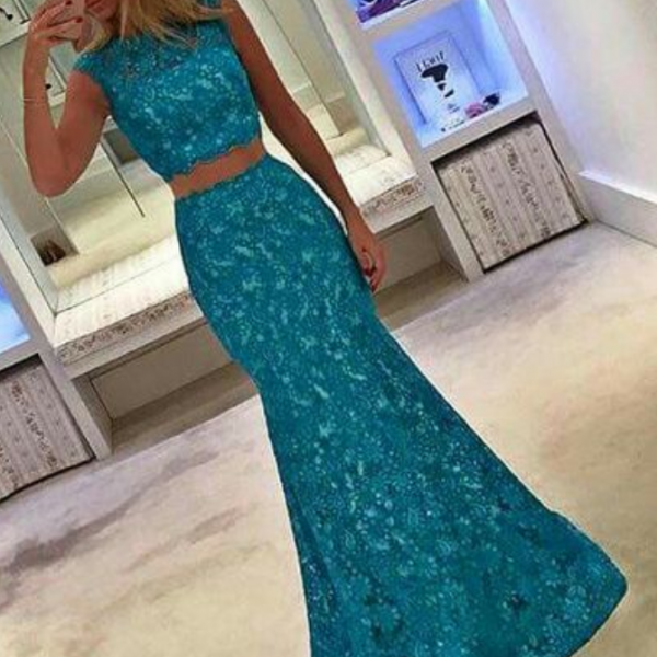 Blue Prom Dress,Modest Prom Gown,Blue Prom Gown,Evening Dress,2 pieces Evening Gowns,Mermaid Party Gowns