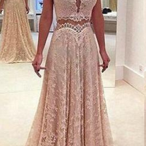 Deep V Neck Unique Long V Back Lace Prom Dresses