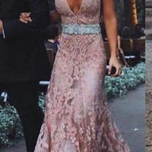 Dusty Pink Open Back Deep V Neck Sexy Long Lace Prom Dress