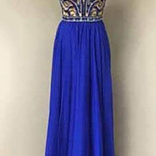 Navy blue chiffon sequins halter long dresses,evening dresses for prom