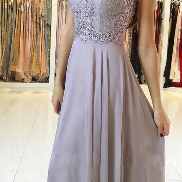 Halter Lace Appliqués Chiffon A-line Long Prom Dress, Evening Dress