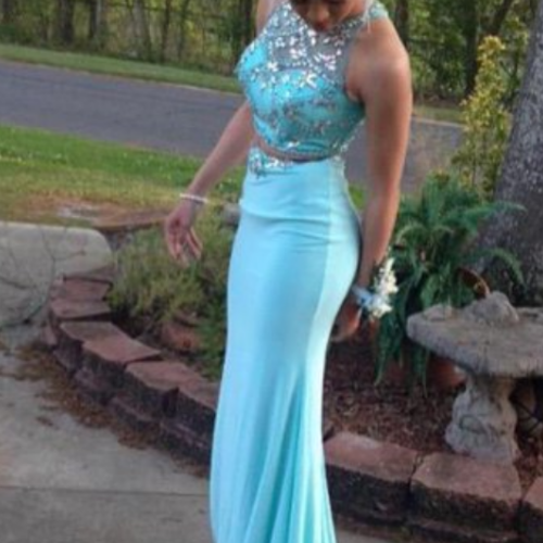 Turquoise Two Pieces Mermaid Prom Dress,Crew Neck Sleeveless Beading Prom Dresses,Crystals Prom Dresses, Evening Dress, Formal Gowns