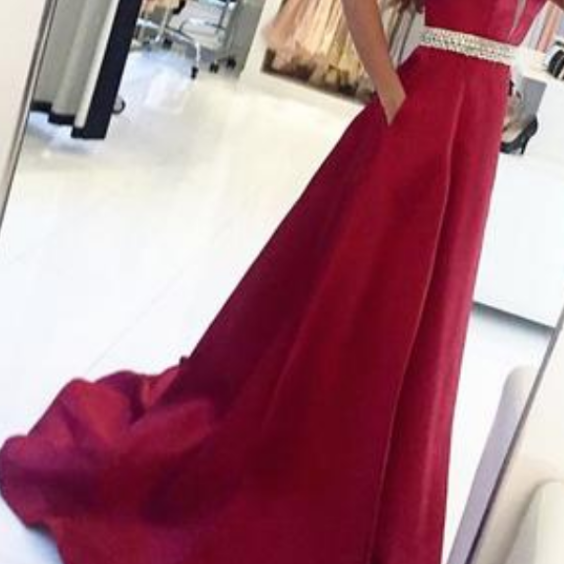 Sexy V Neck Sweep Train Prom Dresses,Long Prom Dress ,Evening Dress,Evening Gowns