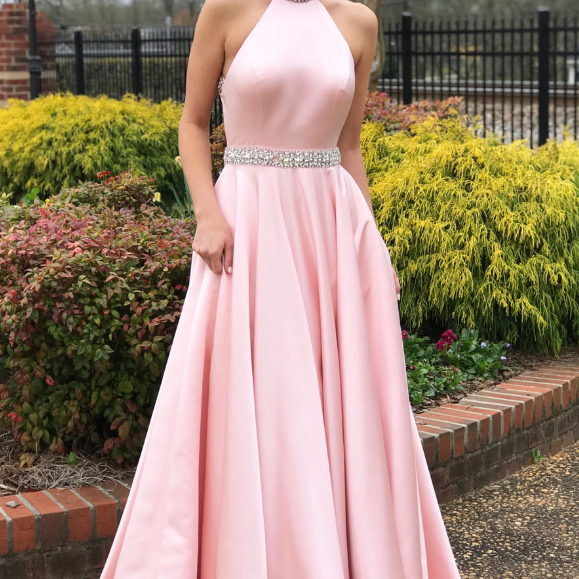 Elegant Beaded Pink Long Prom Dress with Open Back ,Evening Gown,Prom Dresses, evening dresses