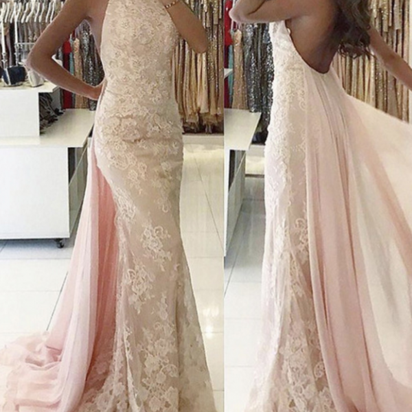 Lace Prom Dresses, Mermaid Prom Dresses, 2017 Pink Prom Dresses with Lace Appliques, Crew Neckline Evening Dresses, Backless Prom Dresses,