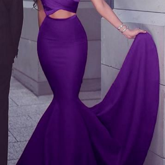 Gorgeous Prom Gown, Simple Sexy Wedding Party Formal Gown, Mermaid Strapless Satin Long Prom Dress