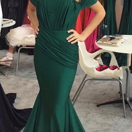Dark Green Mermaid Evening Dresses Off The Shoulder Ruffles Satin Backless Simple Evening Dresses Long Prom Dress Sweep Train