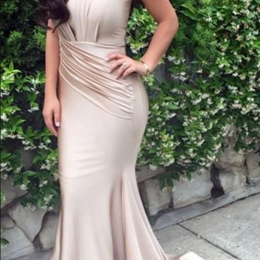 Simple Champagne Satin Mermaid Evening Dresses V Neck Sleeveless Pleated African Aso Ebi Mermaid Prom Dresses Long Party Dress