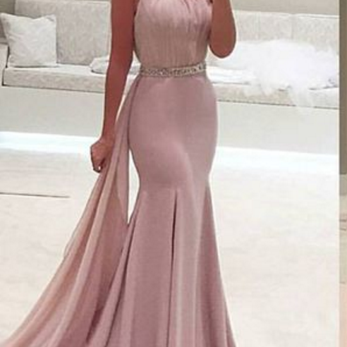 New Style Prom Dress,One Shoulder Prom Dress, Mermaid Gown, Party Dress, Vestidos, Special Ocassion Dress,Satin Evening Dress,