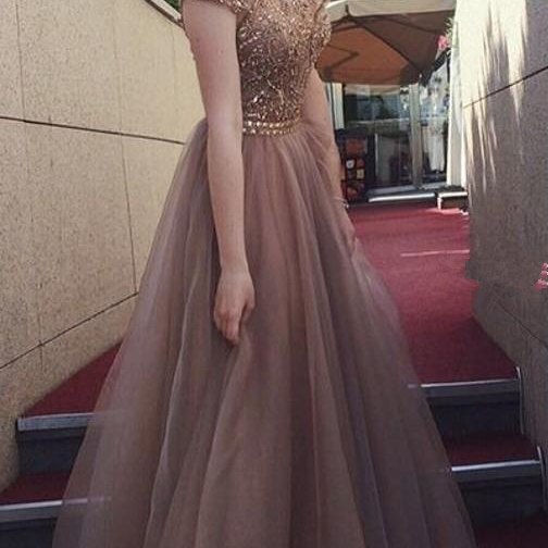 Crystal Brown Prom Dresses Backless Jewel Floor Length Beads Long Formal Evening Party Gowns Special Occasion Dress Plus Size