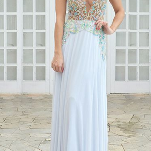 A-Line Round Neck Keyhole White Chiffon Prom Dress with Beading