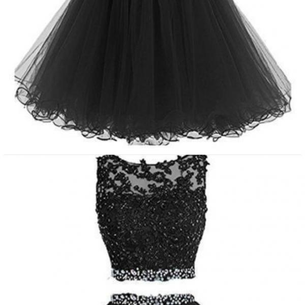 Knee Length Prom Dress, Short Prom Dress, Two Piece Prom Dresses