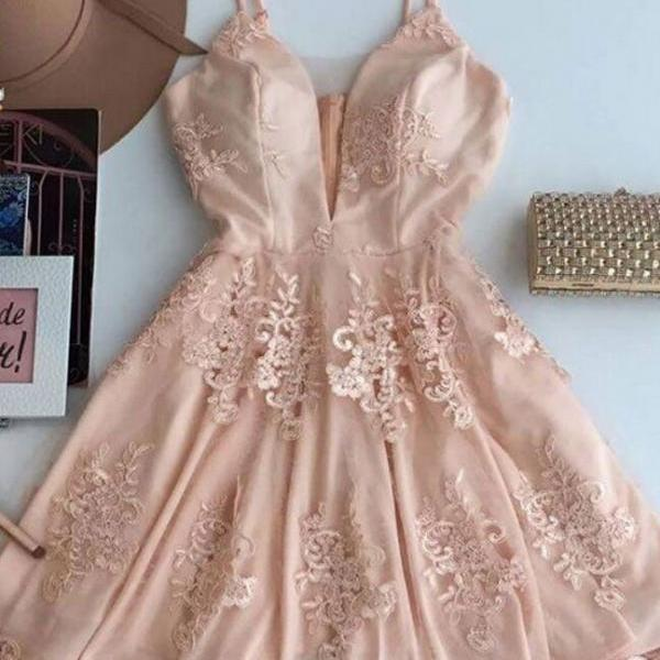 Cute V Neck Lace Short Cheap Homecoming Dresses