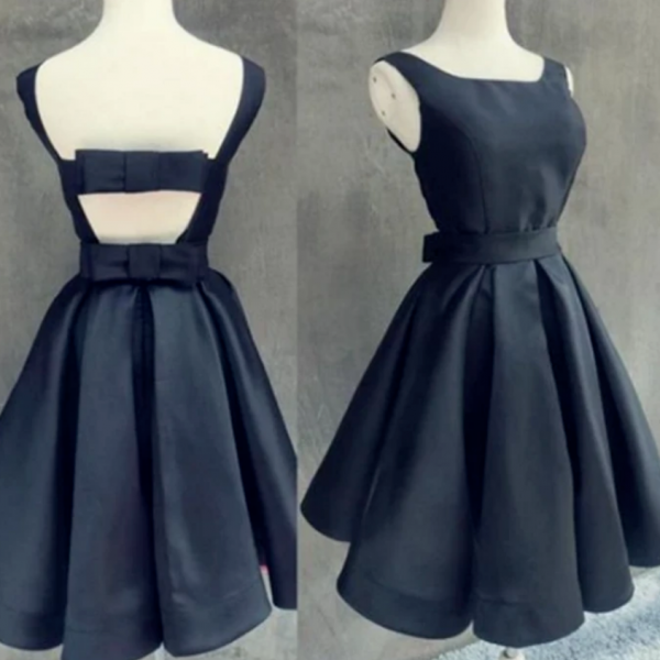 Simple Dark Navy Homecoming Dress with Bowknot Open Back Cocktail Dress