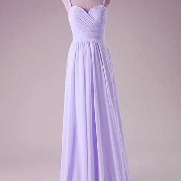 Simple Pretty Straps Sweetheart Long Party Dress, Chiffon Prom Dress