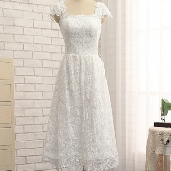 Beautiful Lace Cap Sleeves Tea Length Party Dress, Formal Dress