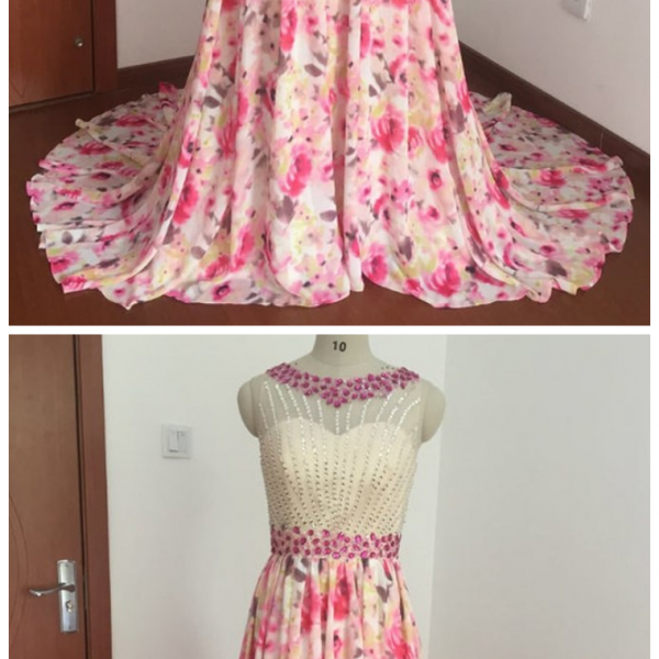 A-Line Print Chiffon Long Prom Dresses With Crystal,