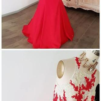 TWO PIECES LACE LONG PROM DRESS RED EVENING DRESS