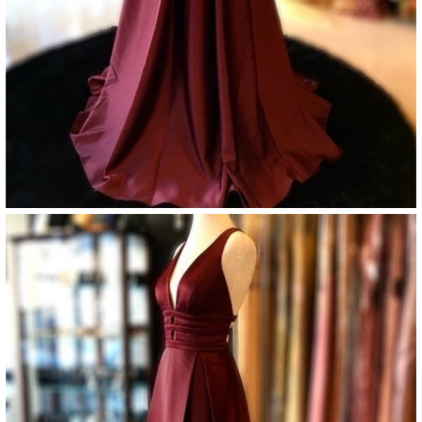Sexy Long Prom Dresses V Neck Evening Gowns