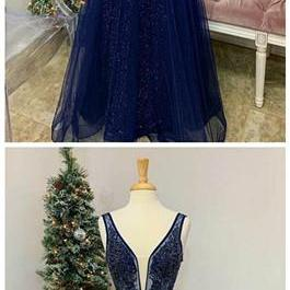 Long Prom Dresses Couture Ball Gowns Pageant V Neck Tulle Beaded Formal Dance Dress
