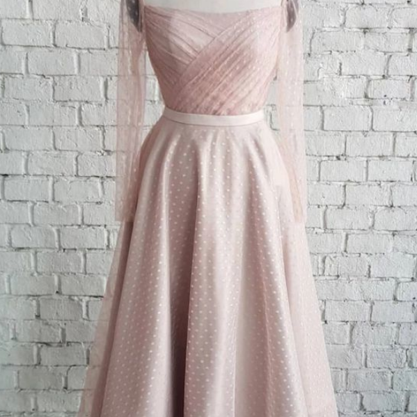 Square Neckline Long Sleeves Prom Dress