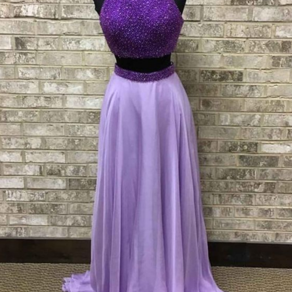 chiffon beading two pieces long prom dress,formal dresses