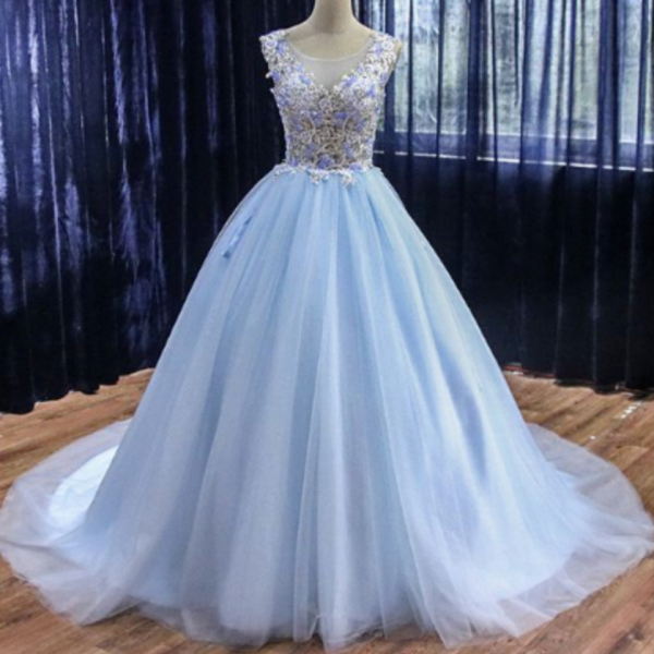 Tulle Custom Made Long Sweet 16 Prom Dress, Quinceanera Dress