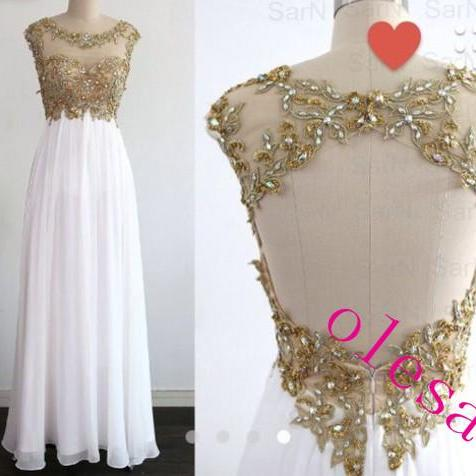 Custom Made A Line Round Neck Backless Prom Dresses, Formal Dresses