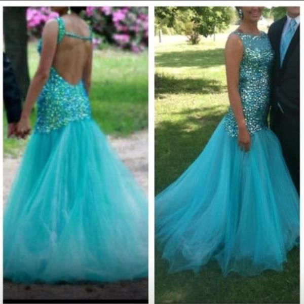 Charming EVENING Dress Mermaid PARTY Dress Backless Prom Dress Sequined Prom Dress