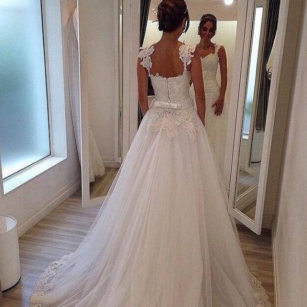 Wedding Dress,Custom Wedding Dress,Sweetheart Wedding Dress,Straps Wedding Dress,Cheap Wedding Dress,A-Line Wedding Dress,Lace Wedding Dress,Handmade Wedding Dress,Floor-Length Wedding Dress,Dress For Bride