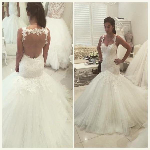 Sexy Wedding Dresses Backless Wedding Dress Sweetheart Wedding Dress Appliques Beads Wedding Dress Sweep Train Wedding Dress Mermaid Wedding Gowns Custom Made Bridal Dress