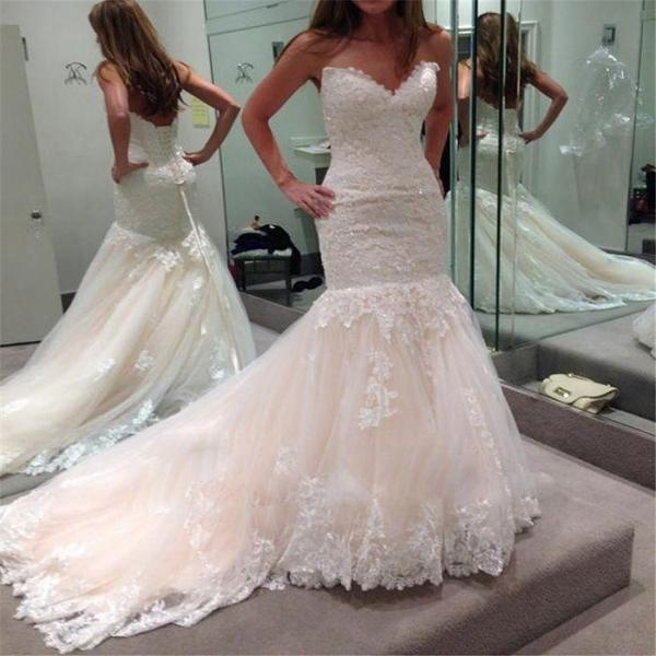 Gorgeous Bridal Dress Appliqued Lace Bridal Dress Beaded Wedding Dresses Strapless Wedding Dresses Mermaid Wedding Dresses Court Train Wedding Dresses Lace Up Wedding Dresses