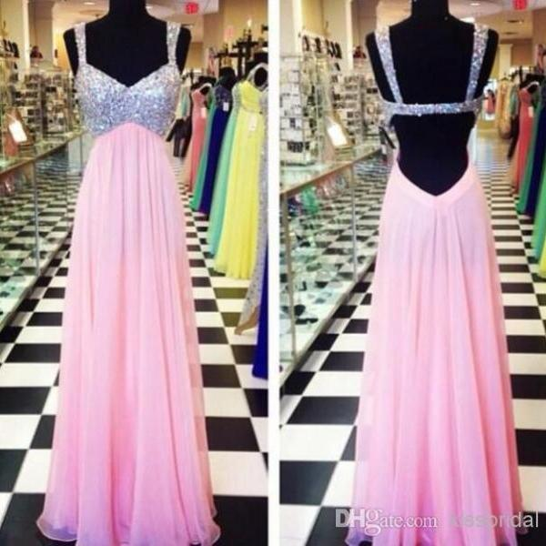 Brand New Classic Real Photo Sequins Prom Dresses Straps Backless A-Line Floor-Length Chiffon Pink Pageant Gown Evening Dress