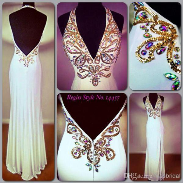 Hot Colorful Rhinestones Beaded Prom Dresses Halter Sheath Backless Floor Length Side Slit Cheap Evening Pageant Gowns