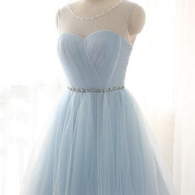 Simple Baby Blue Short Tulle Homecoming Dresses,Cheap Homecoming Dress,Elegant Cocktail Dresses,Charming Graduation Dresses