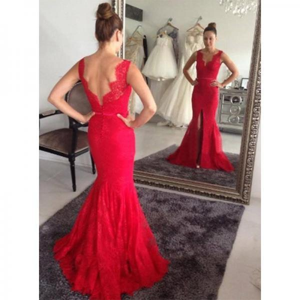 Red Prom Dresses,Mermaid Prom Dress,Red Prom Gown,Lace Prom Gowns,Elegant Evening Dress,Modest Evening Gowns,Simple Party Gowns, Lace Prom Dress