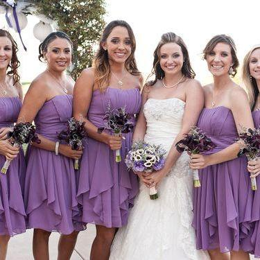 Custom Made Purple Sweetheart Neckline Chiffon Bridesmaid Dress with Cascading Detailing