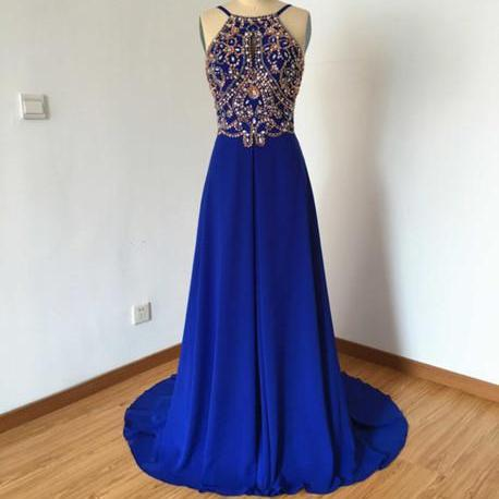 Prom Dresses,Evening Dress,Royal Blue Prom Dresses,Royal Blue Prom Dress,Silver Beaded Formal Gown,Beadings Prom Dresses,Evening Gowns,Chiffon Formal Gown For Senior Teens