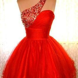 One Shoulder Homecoming Dress,Red Homecoming Dresses,Sweet 16 Dress, Homecoming Gowns,Homecoming Dresses