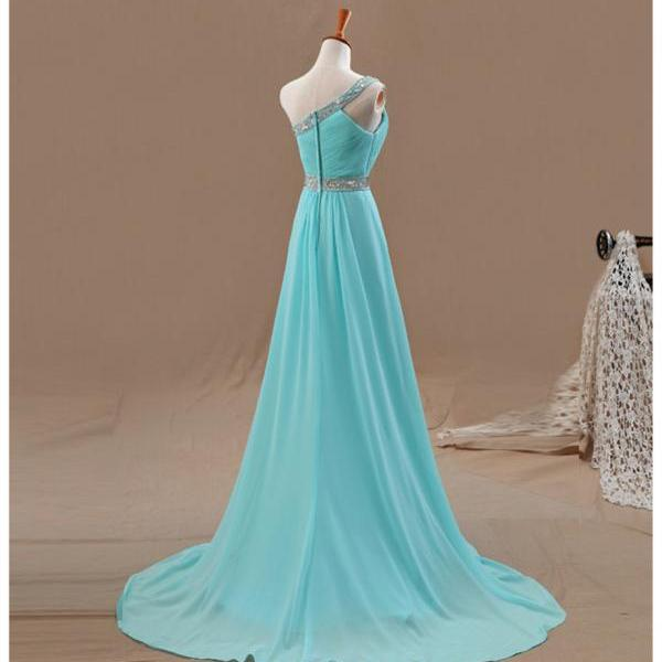 Prom Dresses,Evening Dress,Party Dresses,One Shoulder Prom Dresses,Beaded Evening Dress,Chiffon Prom Dress,Light Blue Prom Dresses,2017 Prom Gown,Elegant Prom Dress,Fashion Evening Gowns for Teens