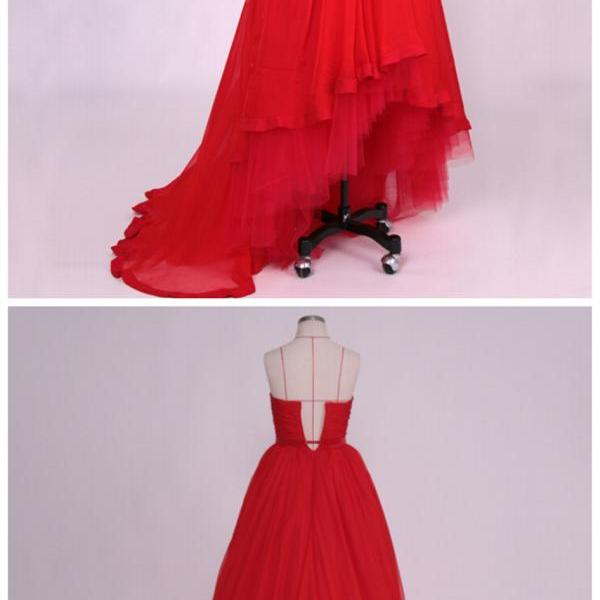 Prom Dresses,Evening Dress,Party Dresses,High Low Prom Dresses,Chiffon Prom Dress,Red Prom Gown,Vintage Prom Gowns,Elegant Evening Dress,Cheap Evening Gowns,Simple Party Gowns,Modest Prom Dress