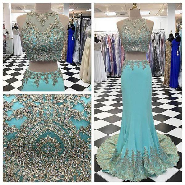 Prom Dresses,Evening Dress,Party Dresses,2 Piece Prom Gown,Two Piece Prom Dresses,Blue Evening Gowns,2 Pieces Party Dresses,Lace Evening Gowns,Formal Dress For Teens