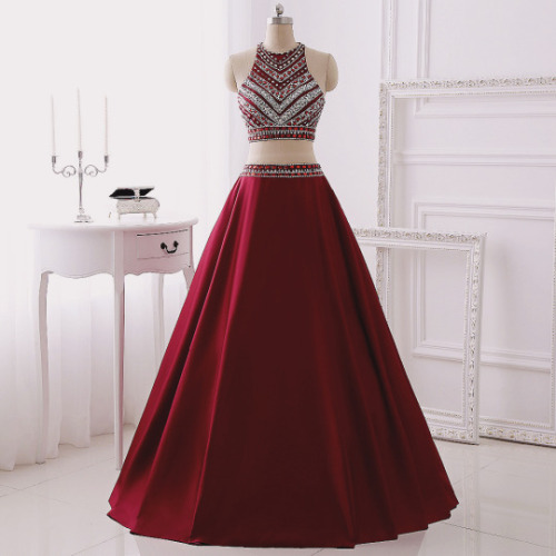 Prom Dresses,Evening Dress,Party Dresses,2 Piece Prom Gown,Two Piece Prom Dresses,Burgundy Evening Gowns,2 Pieces Party Dresses,Burgundy Evening Gowns,Glitter Formal Dress,Sparkly Evening Gowns For Teens