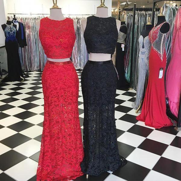 Prom Dresses,Evening Dress,Party Dresses,2 Piece Prom Gown,Two Piece Prom Dresses,Red Evening Gowns,2 Pieces Party Dresses,Lace Evening Gowns,Formal Dress For Teens