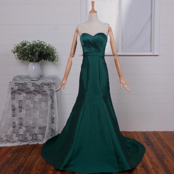 Emerald Green Strapless Sweetheart Ruched Long Mermaid Prom Dress, Evening Dress
