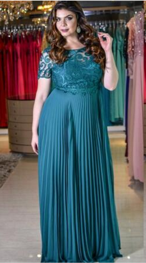 Teal Green Lace Chiffon Plus Size Prom Formal Dresses With Half Sleeve  Bateau Low Back Flowy Skirt Occasion Evening Gowns